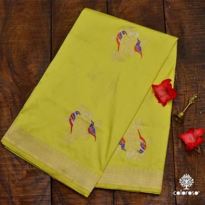 Lemon Green Handloom Banarasi Sari With Beautiful Meenakari
