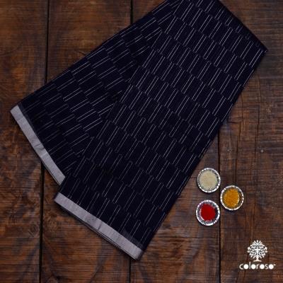 Black And Silver Handloom Chanderi Sari