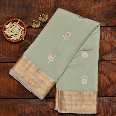 Sublime sea green handwoven katan banarasi with sona roopa zari weave