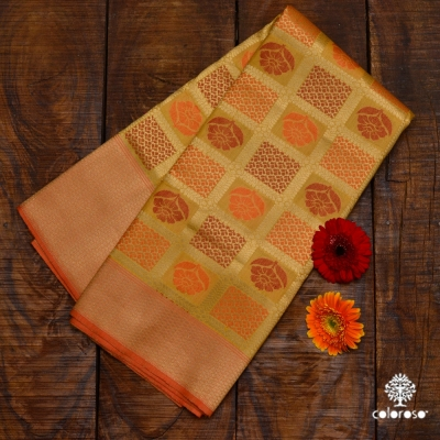 Beige And Orange Handloom Banarasi Sari