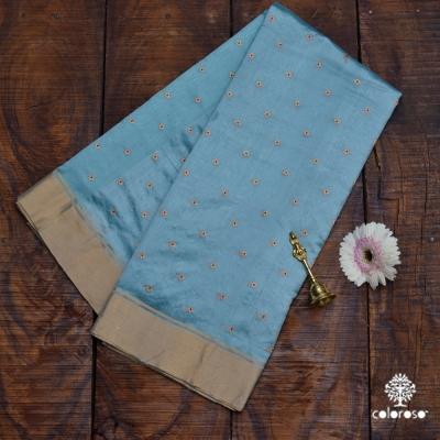 Sky Blue Handwoven Chanderi Sari