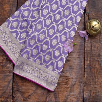 Lavender Handloom  Banarasi With Allover Silver Zaari Work