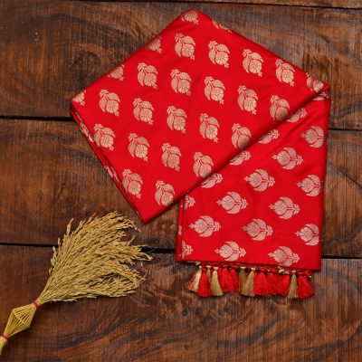 Vermillion red handloom katan banarasi with golden kadhua weave