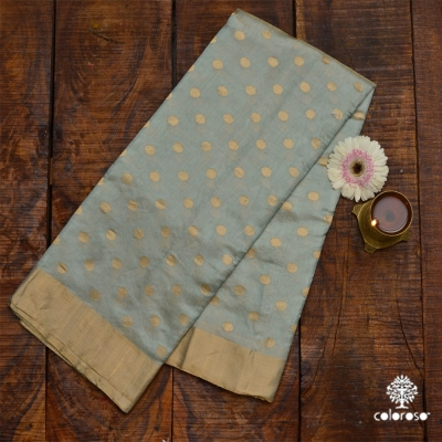 Steel Gray Handloom Chanderi With Rupa And Sona Floral Motifs.