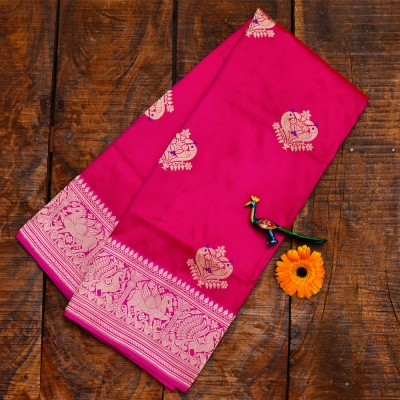 Fuschia handwoven Banarasi in intricate kadwa weave.