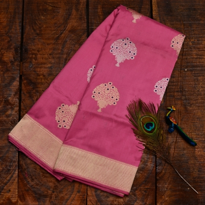 Blush pink handloom banarasi with clusters of gold flowers