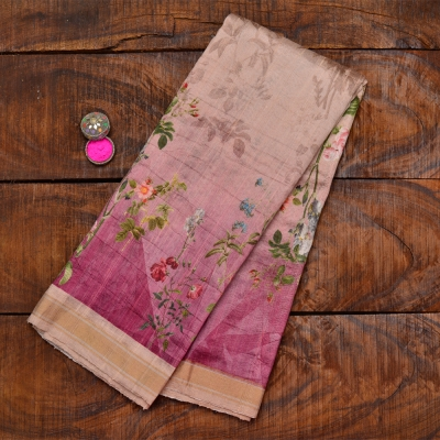 Raw Silk Plain Digital Printed Saree