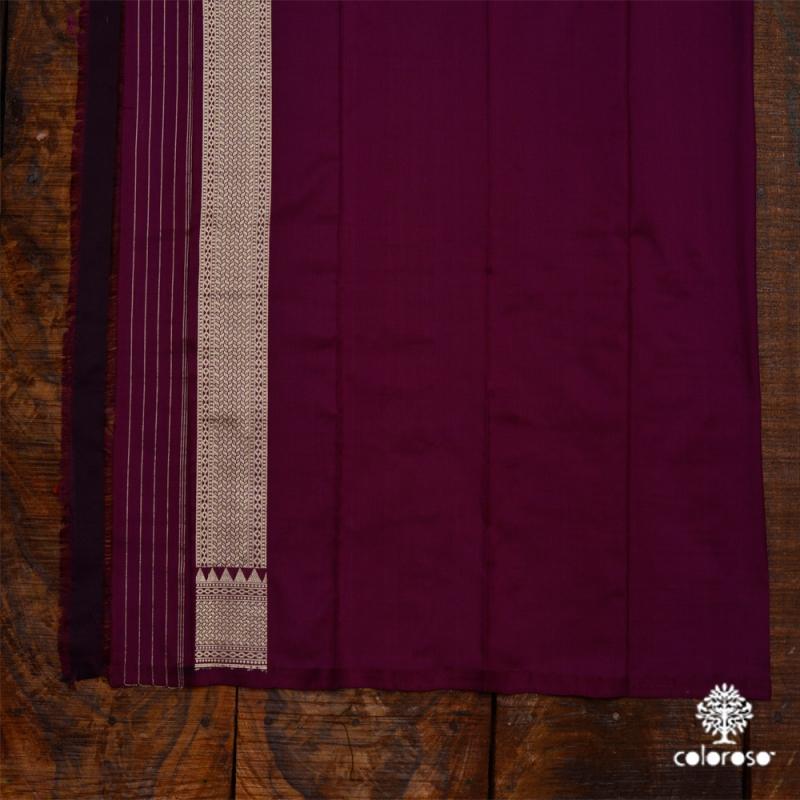 Regal Maroon Handloom Banarasi With Intricate Gold Weave