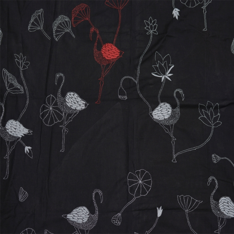 Pitch black khadi sari with contrasting red and white bird motifs
