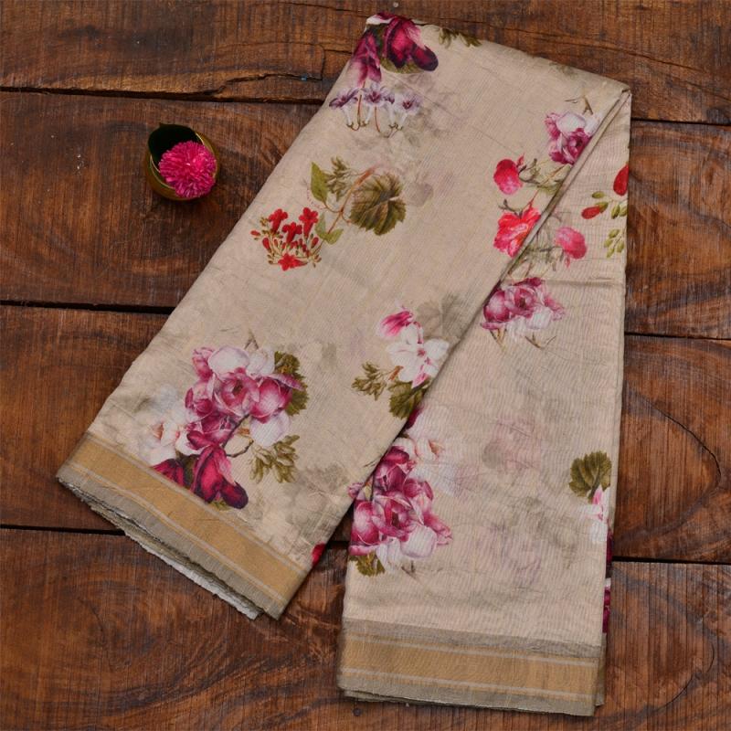 Raw Silk Plain Digital Printed Saree