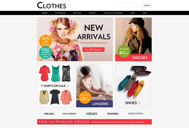 ecommerce site design templates