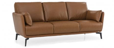 Brennan 3 Seater Brown Leather Sofa