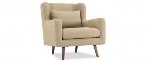 Harper 1 Seater Beige Fabric Sofa