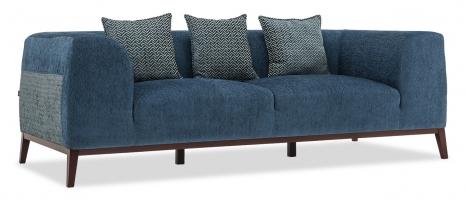 Park 3 Seater Blue Fabric Sofa