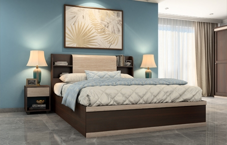 3bf4f551ce Morris Hydraulic King Bed | Brown Engineered Wood Bed Online