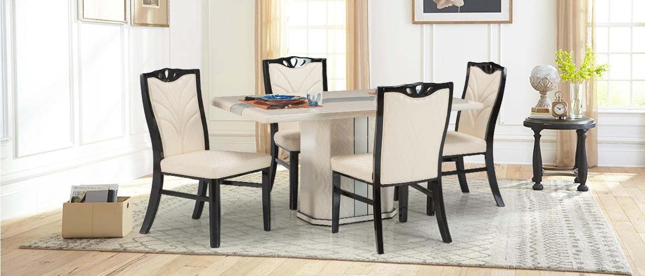 new product 4bc16 bfe15 Buy Westland 4 Seater Marble Dining Set | Rectangular Dining ...