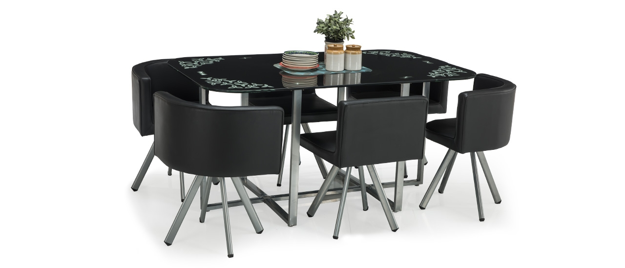 Admirable Neon Glass Stowaway Dining Set Home Interior And Landscaping Ologienasavecom