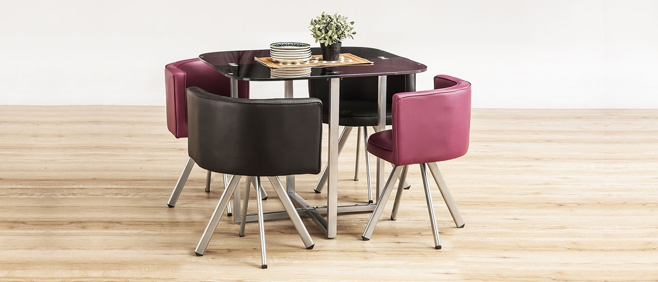 56fe67c6d Neon Glass Stowaway Square Dining Set