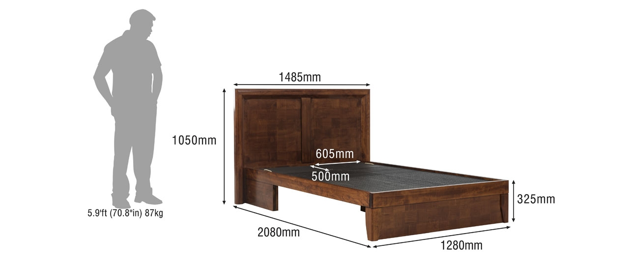 Stephen Compact Queen Size Bed With Half Storage, Manual