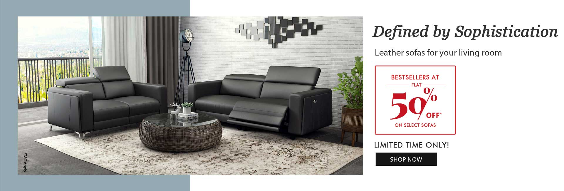 Flat 50% off on selected Sofas