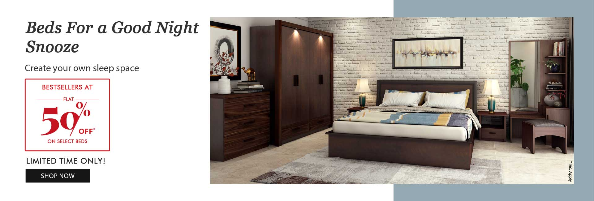 Flat 50% off on select Beds