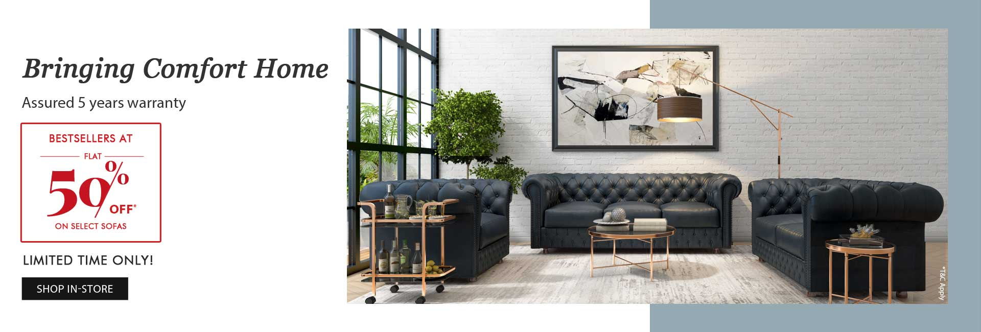 Flat 50% Off on select sofas