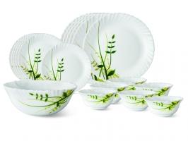 Green Herbs 19 Pc Opalware Dinner Set