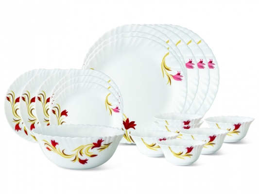 Red Lily 19 Pc Opalware Dinner Set
