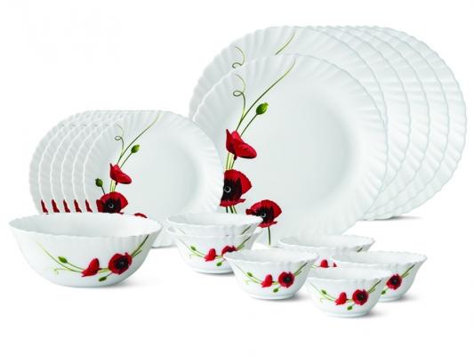 Red Carnation 19 Pc Opalware Dinner Set